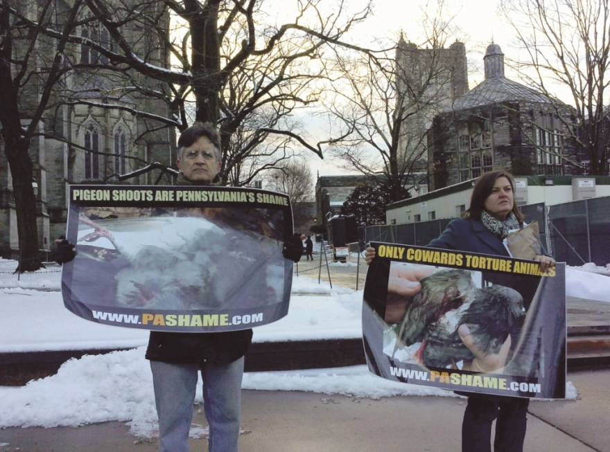 SHARK pigeon shoot protestors at Princeton University.