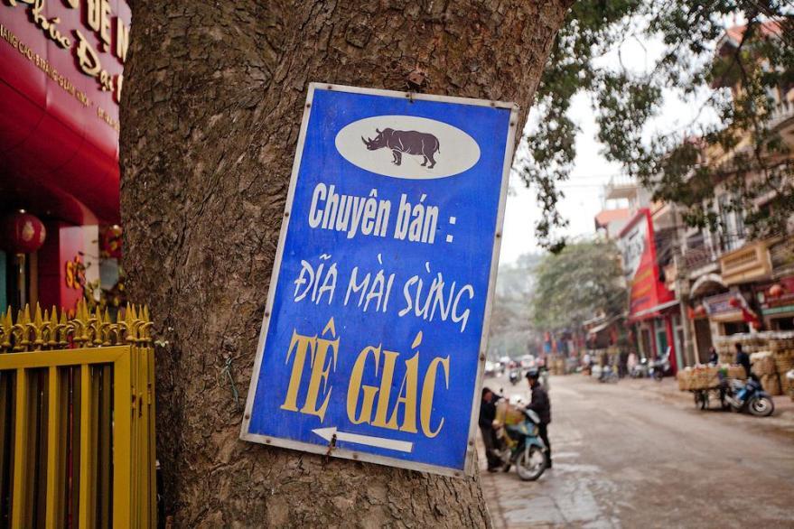 Vietnam. Ad for rhino horn grinding plates. (Photo: Justinmott.Photoshelter.com)