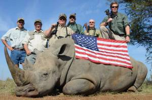rhino with US flag